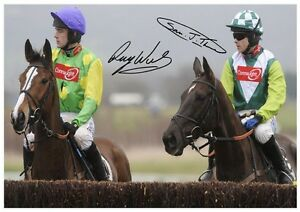 (75 #)  KAUTO STAR AND DENMAN RUBY WALSH SIGNED  A4 PHOTOGRAPH @@@@@@@@@@@@@@@@@