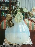 Contemporary chandelier lamp pear shaped glass and metal flowers  and leaves