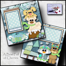 FROSTY FUN ~ WINTER SNOW ~ 2 Premade Scrapbooking Pages paper printed BY CHERRY