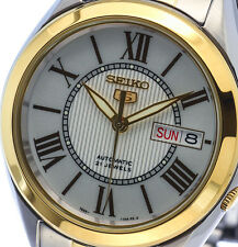 NEW MEN'S SEIKO 5 AUTOMATIC 2-TONE 21 JEWEL ANALOG DAY / DATE WATCH SNKL36K1
