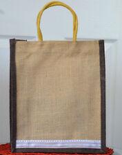 Natural Eco Friendly Jute Burlap Bag Brown Trim and  Brocade Lace Cotton Handles