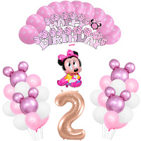 2nd Birthday Pink Minnie Mouse Girls Birthday Balloon Party Decoration Supplies