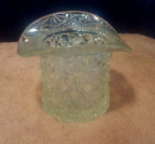 Vintage Vaseline Glass Chartreuse Green Hat-Shaped Toothpick Holder ~ Cane Patrn