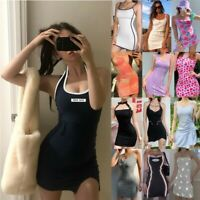 Womens Sleeveless Sexy Bodycon Mini Dress Ladies Summer Beach Party Vest Dresses