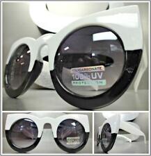 Oversize Vintage Retro Cat Eye Style Sunglasses Funky Exotic White & Black Frame