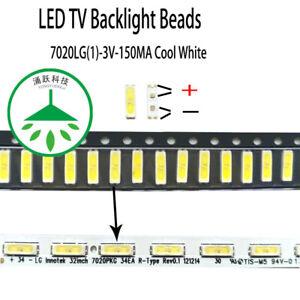 100pcs new led 7020 3v lamp beads cool white repairfor lg led tv backlight strip