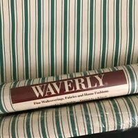 Waverly Stripes Wallpaper Green and White 2+ Double Rolls 551260 Over 112 Sq Ft