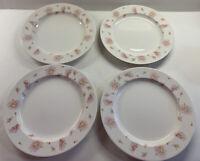 "4 Martha Stewart Everyday MSE Pink Flowers Dinner Plates 11"""