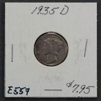 1935-D 10c MERCURY DIME LOT#E557