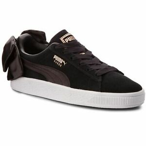 Puma Suede Bow Womens Classic Fashion Shoes Black Casual Trainers 367317-04