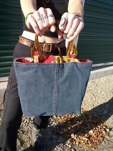 Handmade Denim W/Resin Double Handled Lined Handbag