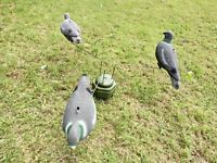 Triple PIGEON ROTARY + THREE Decoys! Shooting TACTICAL Magnet Hunting Equipment