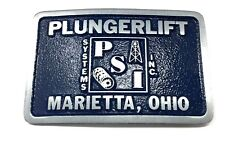 Vintage Belt Buckle Oil And Gas PLUNGER LIFT SYSTEMS Pewter blue Enamel front