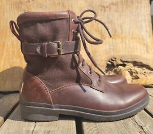 UGG Kesey Leather Textile Mid Zip Laced Fleece Boots #1005264 Women's sz 8.5