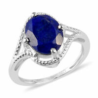 925 Sterling Silver Lapis Lazuli Statement Ring Jewelry Gift Size 7 Ct 2.5