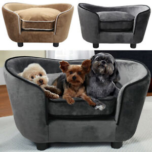 Large Pet Dog Cat Sofa Chair Seat House Bed Thick Cushion Lounger Couch Velvet