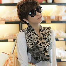 Womens Girl Long Style Neck Wrap Shawl Leopard Print Chiffon Scarf Scarves Stole