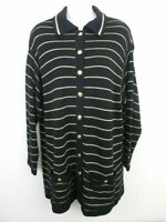 ST. JOHN SPORT Knit Sweater Black Gold Striped Cardigan Button Front Size Small