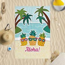 "58""x39"" Aloha Pineapples Microfibre Beach Towel Sun Bathing Pool Swim"