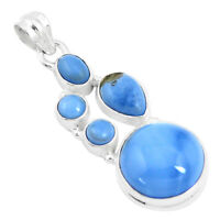 15.44cts Natural Blue Owyhee Opal 925 Sterling Silver Pendant Jewelry P17222