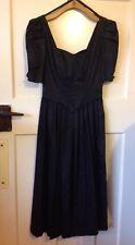 LAURA ASHLEY vintage gothic romantic black steampunk Dress Black Size 8-10 VGC