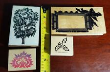 Lot of 4 Tree and Plant Themed Rubber Stamps, Full Size Tree, Anime Tree, Holly