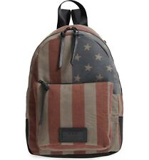 John Varvatos Star USA Men's Gibson Flag Backpack Canvas Nylon Distressed Brown