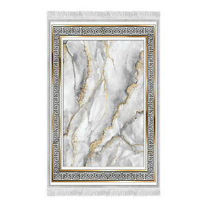 Gold Broken Marble Framework Printed Living Room and Bedroom Area Rugs CNK2413