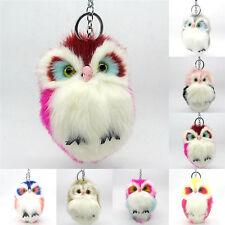 Fluffy Owl Keychain Pendant Womens Key Ring Faux Rabbit Fur Ball JewelryTrinketG