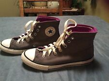 CONVERSE ALL STAR GRAY/GREEN/MAGENTA FOLD OVER HIGH TOP SNEAKERS YOUTH SIZE: 3