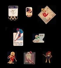 Set/Lot~8 Olympic Pin Badge~Skiing~NEW!!~Alpine~Downhill~Slalom~Vintage~Sponsor~