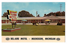 Michigan postcard Muskegon, Bel-Aire Motel chrome