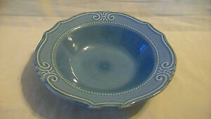 BLUE SOUP OR SALAD BOWL WITH SCALLOPED EDGES AND RAISED DETAIL FROM HOME TRENDS
