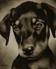 Doberman Pinscher Puppy Art Print Sepia Watercolor Painting by Artist DJR