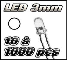 """""""Livraison gratuite"""" LED blanche 3 mm de 10 à 1000 pcs  white LED"""