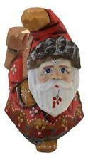 Russian Santa Unusual Shape Gnome Hand carved Hand Painted