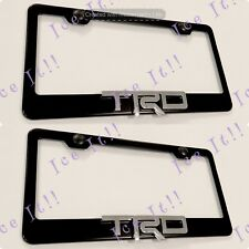 2X 3D TRD OFF ROAD 4X4 Toyota Emblem Black Stainless Steel License Plate Frame