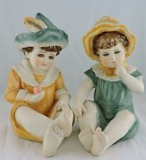 VINTAGE FIGURINE STATUE SITTING GIRL & BOY,GERMAN BISQUE DOLL STYLE HAND PAINTED