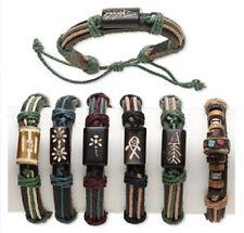 Wholesale 6 Leather Bone and Cotton Surfer Bracelets