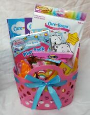 Care Bears Filled Easter Birthday Basket Pink Bubbles Peeps Mini Figures FUN!