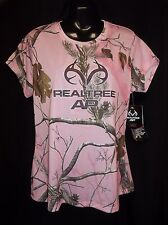REALTREE Ladies Hunting WICKING Pink Camouflage Shirt Top LARGE NWT
