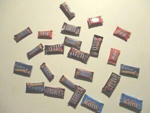 5 DOLLS HOUSE MINIATURE CHOCOLATE BARS MIXED