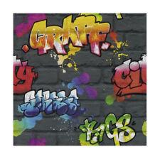 Black Graffiti Brick Wall Effect Feature Teenage Wallpaper 237801 From Rasch