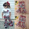 Cute Casual Toddler Kids Baby Girls Stripes Flower Bell-Bottoms Pants Leggings