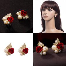 4FEC Women 18k Gold Plated Rhinestone Crystal Pearl Red Rose Flower Earring Gift