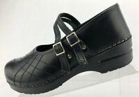 Sanita Claire Double Strap Clogs Black Leather Casual Shoes Womens 40 US 9.5/10