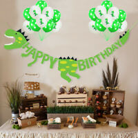 Baby Shower Dinosaur Birthday Party Foil Balloons Paper Pull Flag Decor Supplies