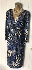 GINA BACCONI DRESS Size 18 Sheath Blue mix Stretch Drapes Sleeves Pencil Evening