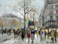 Wall Art Decor Lively Paris Street Oil painting HD Giclee Printed on canvas P866