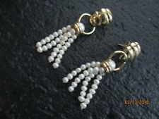 VINTAGE 14K 585 CEI YELLOW GOLD AND PEARL EARRINGS 12 GRAMS